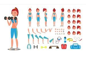 Fitness Girl Vector. Animated Sport