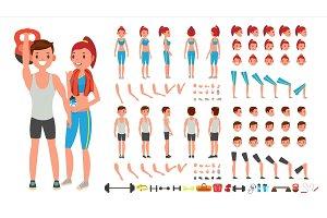 Fitness Girl, Man Vector. Animated