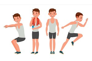 Fitness Man Vector. Different Poses
