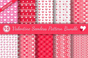 10 Valentine Seamless Pattern Bundle