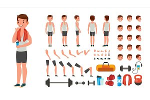 Fitness Man Vector. Animated Athlete
