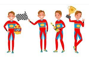 Sport Car Racer Young Man Vector