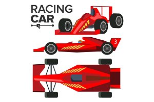 Racing Car Bolid Vector. Sport Red