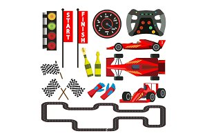 Sport Car Racing Icons Set Vector