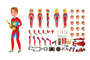 Sport Car Racer Male Vector. Red