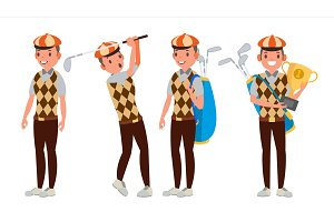 Professional Golf Player Vector