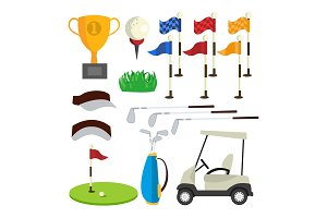 Golf Icons Set Vector. Golf
