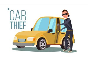Thief And Car Vector. Breaking Into