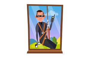 Thief And Window Vector. Breaking