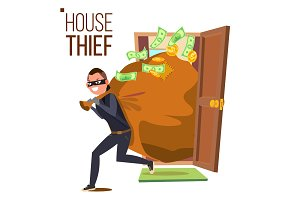 Thief And Door Vector. Bandit With
