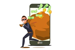 Thief And Smartphone Vector. Bandit