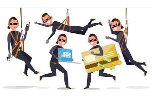 Thief, Hacker Man Set Vector