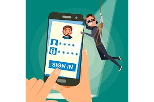 Thief Stealing Personal Data Vector