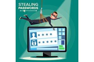 Hacker Stealing Password Vector