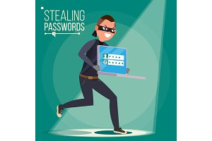 Thief Character Vector. Hacker
