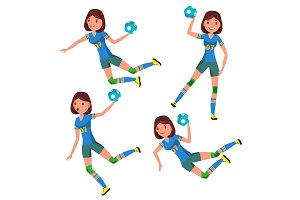 Handball Player Female Vector