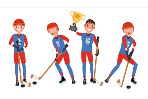 Ice Hockey Man Player Vector. Sports