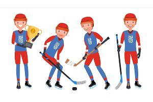 Classic Ice Hockey Player Vector