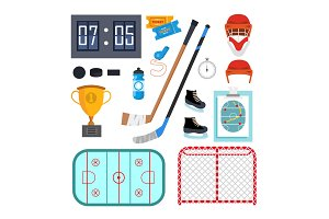 Ice Hockey Icons Set Vector. Ice