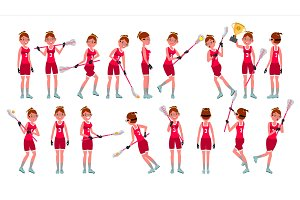 Lacrosse Girl Vector. Catch The Ball