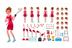 Lacrosse Player Female Vector
