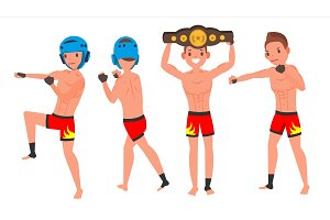 MMA Male Player Vector. Poses Set