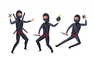 Ninja Warrior Vector. Black Suit