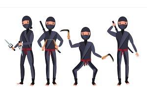 Ninja Set Vector. Samurai Characters