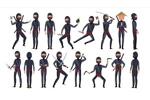 Ninja Character Vector. Cartoon