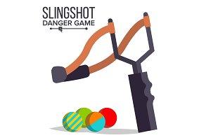Slingshot Vector. Cartoon Slingshot