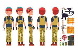 Paintball Player Vector