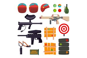 Paintball Icons Set Vector