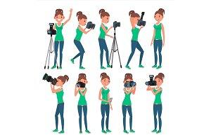 Photographer Woman Vector