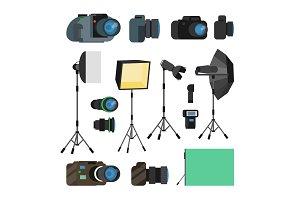Photographer Tools Set Vector