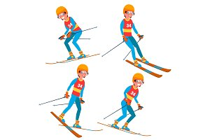 Skiing Player Male Vector. Winter