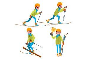 Skiing Young Man Vector. Man