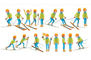 Skiing Male Vector. In Action. Man