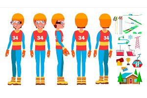 Skiing Man Player Male Vector
