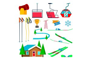 Skiing Icons Set Vector. Skiing