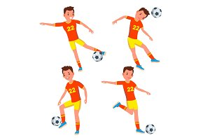 Soccer Young Man Player Vector. Man