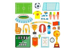 Soccer Icons Set Vector. Soccer