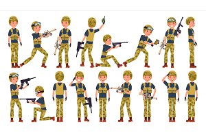 Soldier Male Vector. Different Poses