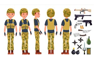 Soldier Man Set Vector. Poses. Army