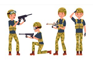 Soldier Male Vector. Poses