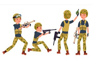 Young Army Soldier Man Vector. Poses