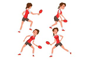 Table Tennis Female Player Vector