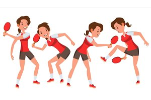Table Tennis Player Female Vector