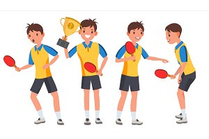 Table Tennis Young Man Player Vector