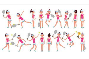 Woman Tennis Player Vector. Playing