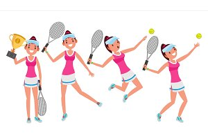Tennis Player Vector. Young And